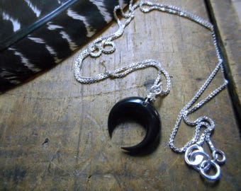 "Lunar Ritual. Crescent Moon Carved Buffalo Horn Bone & 18"" Sterling Silver Necklace. Box chain."
