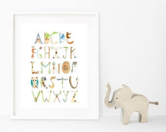 Alphabet Print, Woodlands Theme, Nursery Print, Preschool, Watercolor, Baby Shower Gift, Kids Room, Nature, Nursery Wall Art, 8x10 or 8.5x11