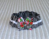 """Dog Ruffle Collar, Little Black Dress Dog Scrunchie Collar with striped rose bow - Size L: 16"""" to 18"""" neck"""
