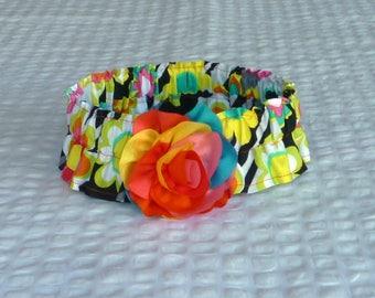 "Dog Ruffle Collar, Pet Bandana, Bright Daisies on Stripes Dog Scrunchie Collar with chiffon rainbow rose - Size XL: 18"" to 20"" neck"
