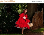 50% OFF Today ONLY Little Red Riding Hood Halloween Costume Womens Adult Dress and Hooded Capelet Cape Cosplay Gothic Lolita Dress Handmade