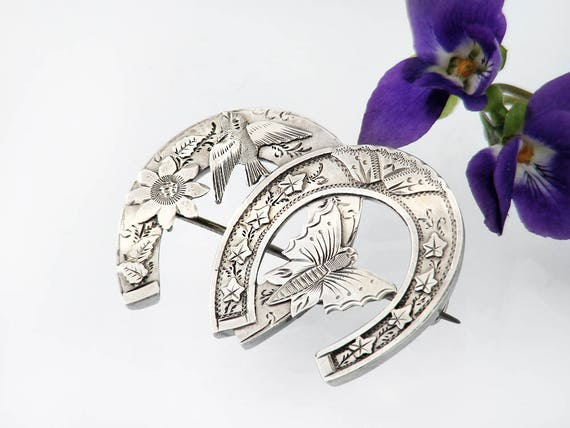 Victorian Wedding Brooch | 1888 Twin Horseshoes, Butterfly & Bird | Hallmarked Wedding Pin, Lucky Horseshoes Bouquet Brooch - Something Old