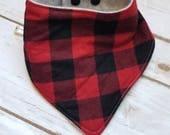 Red and black plaid bandana bib/red/black/christmas/eco friendly/sustainable/natural/plaid/drool/bib/teething