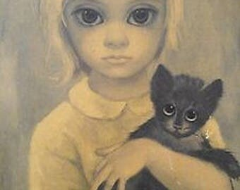 """Walter Keane (Margaret) """"Stray"""" Lithograph In Original Name Plate Frame"""