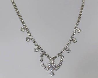 SALE Vintage Rhinestone Necklace. Clear Rhinestones Choker Necklace. Formal. Wedding. Bridal.