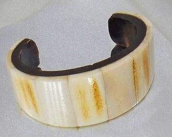 SALE Vintage Bone and Ebony Horn Cuff Bracelet. African Tribal Bone Cuff Bracelet.
