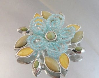 SALE Vintage Blue Yellow Flower Brooch. Beaded Baby Blue and Yellow Flower Pin.