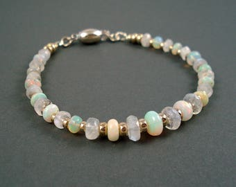 Moonstone and Ethiopian Opals  Bracelet with Sterling Silver Beads