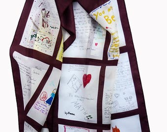 SOLD Teacher's Scarf Kids School Children Drawings Letters Digital