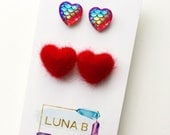 Red Hot Hearts Earrings with Fuzzies and Mermaid Scales