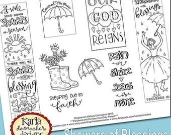 20 OFF SALE Showers Of Blessing Color Your Own Bookmarks Bible Journaling Tags