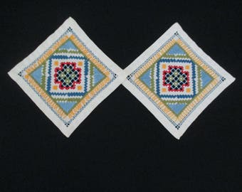 2 Vintage Square Doilies Doilie Doily Doiley Hand Embroidered