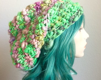 Dreadlock Hat - extra slouchy, handspun wool with sparkle, greens and pinks - one of a kind!
