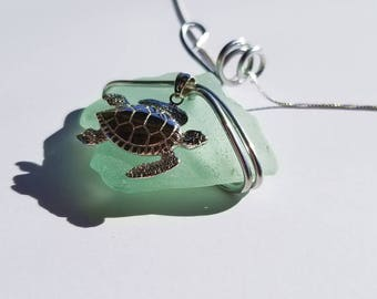 Pale aqua green Sea Glass Necklace handmade with sterling Sea Turtle with aluminum bale