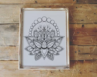 lotus flower coloring page instant download print your own coloring pages adult coloring book - Print Your Own Coloring Book
