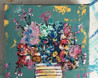 6 x 6 floral art, abstract flowers, flower painting , original painting , blues and pinks,