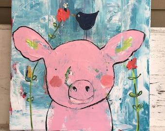 Pig painting , acrylic painting , girls wall art, whimsical art, original painting , pinks