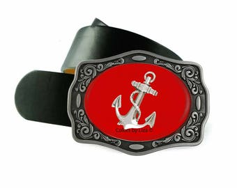 Anchor Belt Buckle Inlaid in Hand Painted Red Enamel Nautical Inpired Design Belt Buckle for Snap Belts with Custom Colors Available