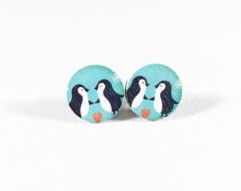 Penguin Earrings, Wood Earrings, Kitschy, Winter Earrings, Cute Earrings, Blue Earrings, Penguin Gift, Gift for Her