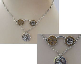 Silver Steampunk Glasses Necklace Handmade NEW Cosplay Adjustable Gears Fashion Cosplay
