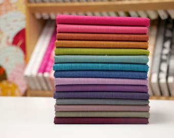 Kaffe Fassett - Shot Cottons - Half Yard Fabric Bundle - 15 woven solids
