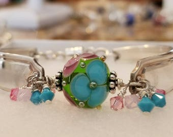 Silver Spoon Bracelet with Artisan Lampwork Glass Focal Bead by Katerina Sojkova Ex Restovic