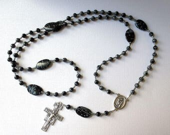 Franciscan Crown Rosary of Snowflake Obsidian, Black and Gray Seven decade Rosary with St. Francis/ St. Anthony Center and San Damiano Cross