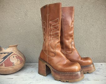 Vintage DESTROY platform boots brown leather Club Kid chunky heel