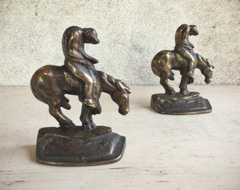 Vintage End of Trail Fallen Warrior on Horse Brass Bookends Southwestern Decor