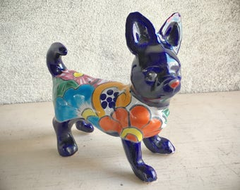 Talavera Pottery Chihuahua Figurine (Repaired) Mexican Pottery Dog Decor, Dog Collectibles