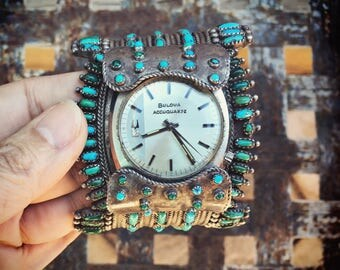 Huge 153g Signed Navajo Watch Cuff for Men 1970s Bulova, Vintage Turquoise Watch Band