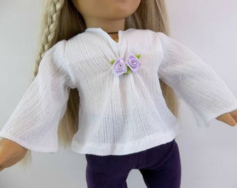 18 inch Doll Clothes Fits American Girl Doll  White Woodstock Shirt and Purple Leggings