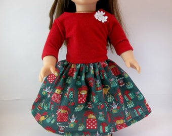 18 inch  Doll Christmas Dress Red Velvety Top Green Print Skirt Fits American Girl Doll ar Hair Band