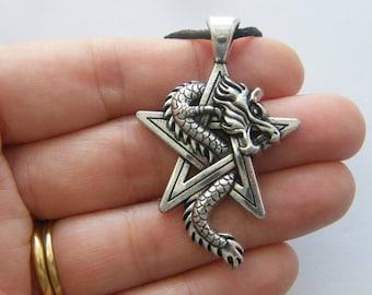 1 Dragon pentagram charm antique silver tone HC75