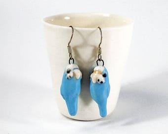 Blue budgie ceramic earrings sterling silver wires * budgie figurine * blue budgerigar * budgie art * Anita Reay AnitaReayArt * bird art