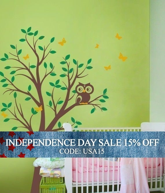 Independence Day Sale - THE BUMP FEATURED - Tree with Owl and Butterflies Decal Set - nursery wall decal