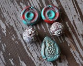 Polymer Clay Beads - Destash Beads - Bead Mix - Handmade Pendant - Handmade beads and Charms - Bead Soup Beads