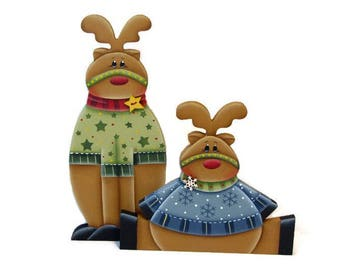 Reindeer Shelf Sitters, Handpainted Wood, Hand Painted Home Christmas Decor, Tole Decorative Painting