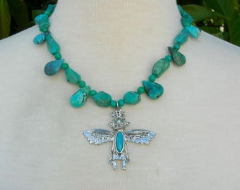 Hopi Eagle Dancer Kachina, Vintage Silver & Faux Turquoise Pendant, Genuine Natural Turquoise Teardrops and GradeAA Nuggets,by SandraDesigns