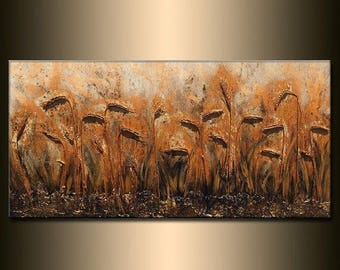 Original Modern Textured art deco landscape wheat field Abstract metallic Painting by Henry Parsinia