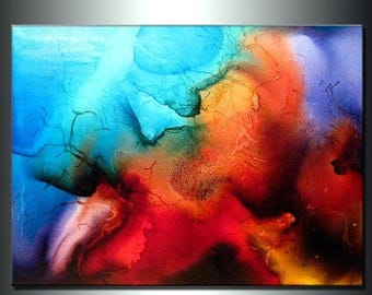 Original Abstract painting Contemporary Modern Colorful Canvas Art by Henry Parsinia 48x36