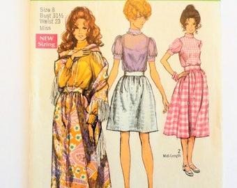 1970's Skirt blouse pattern mini midi maxi puffy sleeve blouse shawl retro boho vintage sewing pattern Simplicity 8699 misses size 8 bust 31