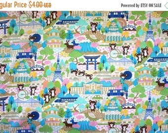 last call Japanese Anime Tokyo Bears in Turquoise 1/2 yard