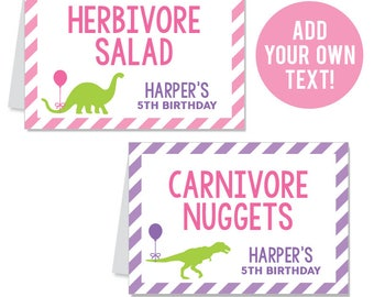 INSTANT DOWNLOAD Pink Dinosaur Party Buffet Cards - EDITABLE Printable File