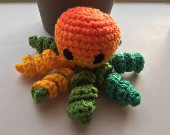 Orange and Green Amigurumi Octopus