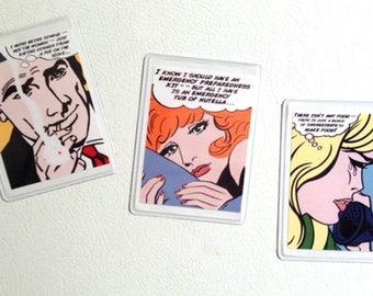Set of 3 Pop Art Kitchen Art Refrigerator Magnets Funny