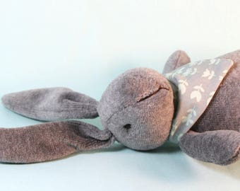 Jack and Jill Bunnies -Dark Gray with Gray Mint Floral Scarf