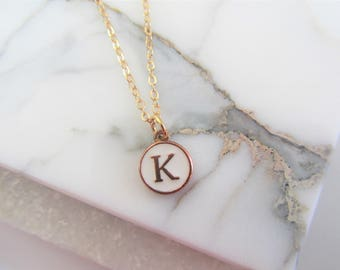 Initial Letter Necklace,Monogram Initial Necklace,Bridesmaid Necklace Gift,Personalized Gift,Gold Charm Necklace,Gift for Her,Gold Necklace