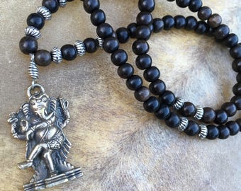 Ganesha Necklace Dancing Ganesh Charm 108 Bead Mala Beads Black Ebony Mala Hindu God Yoga Jewelry Yoga Meditation