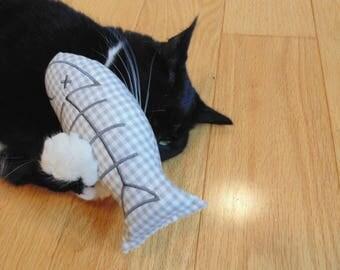 Catnip toy, large fish cat toy, catnip fish, toy for cat, fish bones design, playtime, cat birthday, cat gift, embroidered fish, cat nip toy
